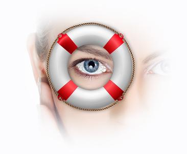 záchranný kruh a lidské oko