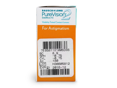 PureVision 2 for Astigmatism (6čoček) - Náhled parametrů čoček