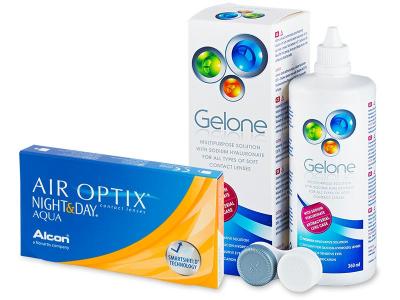 Air Optix Night and Day Aqua (6 čoček) +roztokGelone360ml - Výhodný balíček