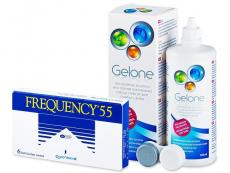 Výhodné balíčky kontaktních čoček - Frequency 55 (6 čoček) +roztokGelone360ml