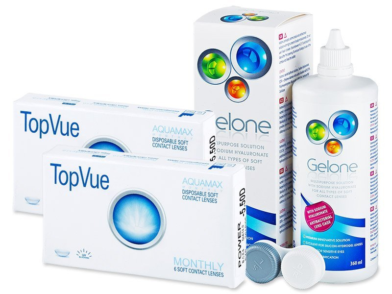 TopVue Monthly (2x6čoček) + roztok Gelone 360ml - Výhodný balíček