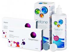 Výhodné balíčky kontaktních čoček - Avaira  (2x3 čočky) +roztokGelone360ml