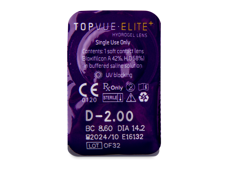 TopVue Elite+ (10 čoček) - Vzhled blistru s čočkou