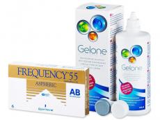 Výhodné balíčky kontaktních čoček - Frequency 55 Aspheric (6 čoček) +roztokGelone360ml