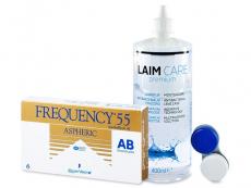 Výhodné balíčky kontaktních čoček - Frequency 55 Aspheric (6 čoček) +roztokLaim-Care400ml
