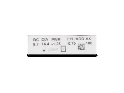 Clariti Toric (6 čoček) - Náhled parametrů čoček
