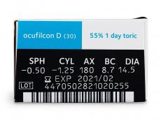 Biomedics 1 Day Extra Toric (30čoček) - Náhled parametrů čoček