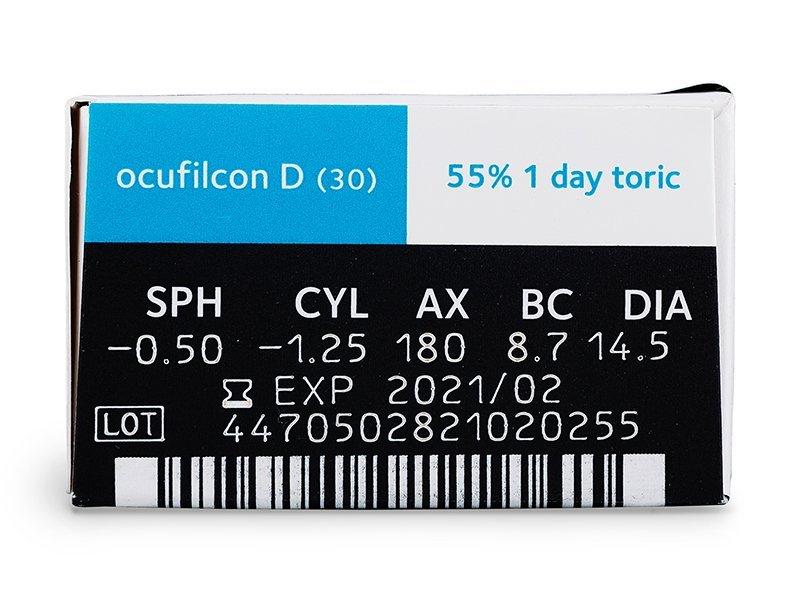 Náhled parametrů čoček - Biomedics 1 Day Extra Toric (30čoček)