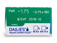 Dailies AquaComfort Plus Toric (30čoček) - Náhled parametrů čoček