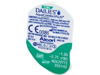 Dailies AquaComfort Plus Toric (30čoček) - Vzhled blistru s čočkou