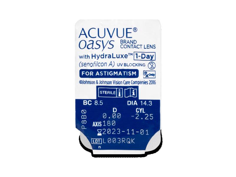 Vzhled blistru s čočkou - Acuvue Oasys 1-Day with HydraLuxe for Astigmatism (30 čoček)