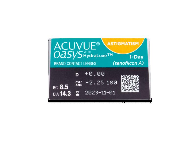 Acuvue Oasys 1-Day with HydraLuxe for Astigmatism (30 čoček) - Náhled parametrů čoček