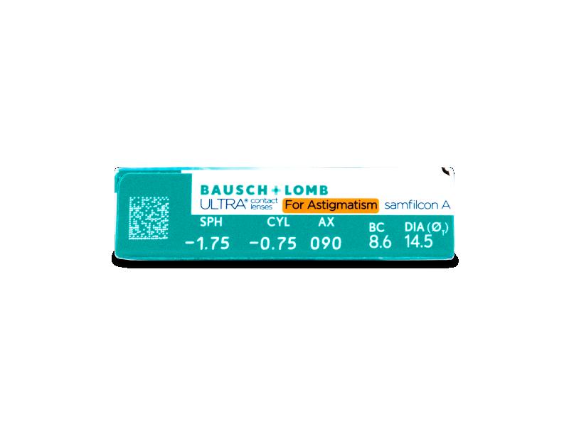 Náhled parametrů čoček - Bausch + Lomb ULTRA for Astigmatism (6 čoček)
