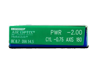 Air Optix plus HydraGlyde for Astigmatism (6čoček) - Náhled parametrů čoček