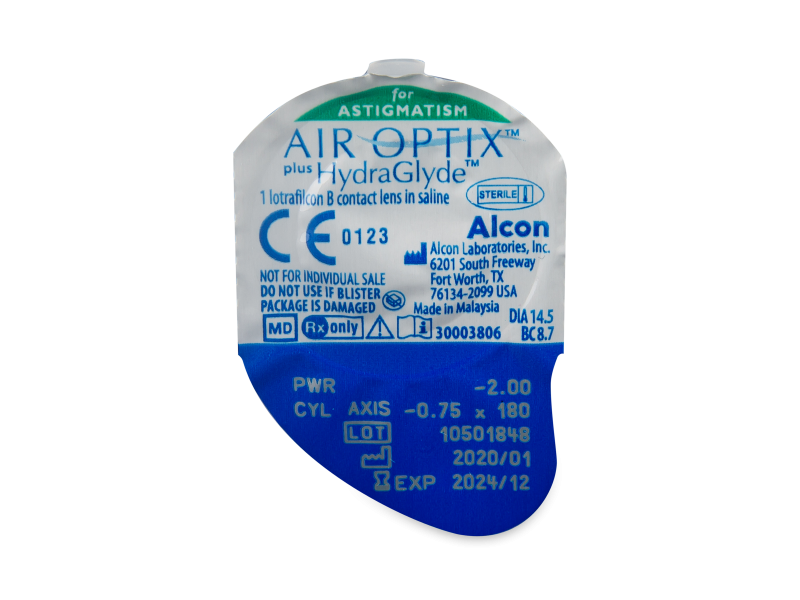 Air Optix plus HydraGlyde for Astigmatism (3 čočky) - Vzhled blistru s čočkou