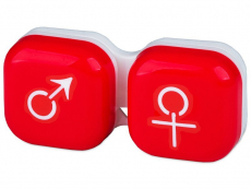 Příslušenství - Pouzdro na čočky muž a žena - červené