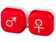 Pouzdra na čočky a cestovní sady - Pouzdro na čočky muž a žena - červené
