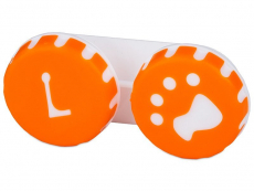 Pouzdra na čočky a cestovní sady - Pouzdro na čočky Tlapka - oranžové