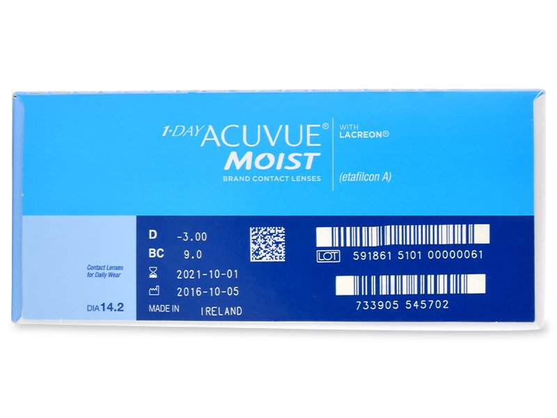 1 Day Acuvue Moist (180čoček) - Náhled parametrů čoček