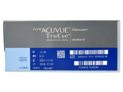 1 Day Acuvue TruEye (180čoček) - Náhled parametrů čoček
