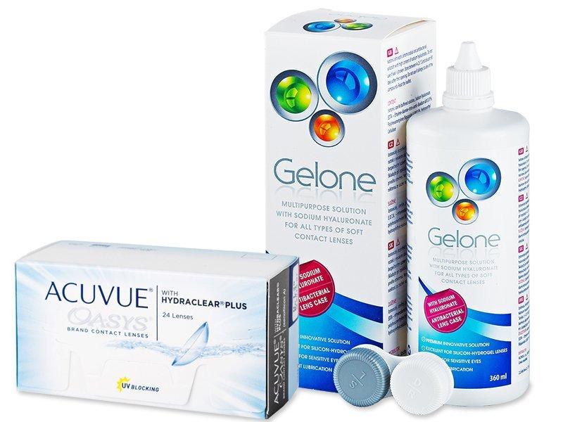 Acuvue Oasys (24 čoček) + roztok Gelone 360 ml - Výhodný balíček