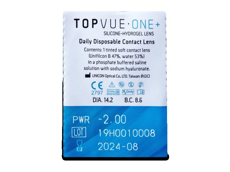 TopVue One+ (5 párů čoček) - Vzhled blistru s čočkou