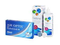 Air Optix plus HydraGlyde (6 čoček) + roztok Gelone 360 ml