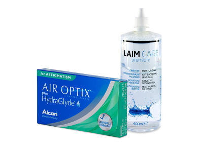 Air Optix plus HydraGlyde for Astigmatism (3 čočky) + roztok Laim-Care 400 ml