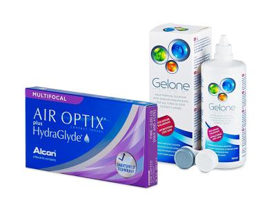 Air Optix plus HydraGlyde Multifocal (3 čočky) + roztok Gelone 360 ml