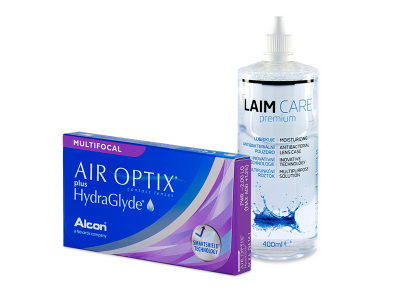 Air Optix plus HydraGlyde Multifocal (6 čoček) + roztok Laim-Care 400 ml