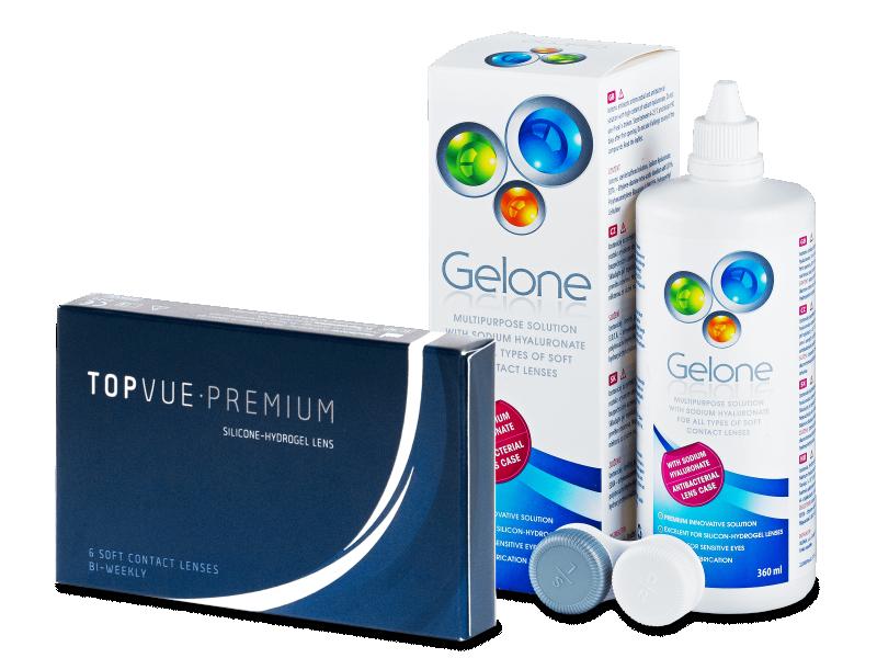 TopVue Premium (6čoček) +roztok Gelone360ml - Výhodný balíček
