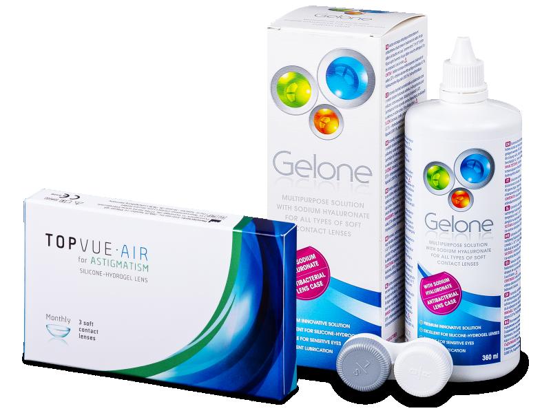 TopVue Air for Astigmatism (3čočky) + roztok Gelone 360 ml - Výhodný balíček