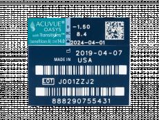 Acuvue Oasys with Transitions (6 čoček) - Náhled parametrů čoček