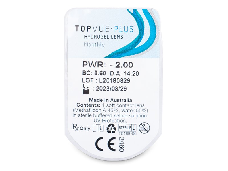 Vzhled blistru s čočkou - TopVue Plus (6 čoček)