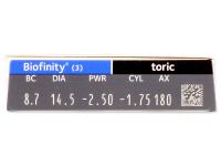 Biofinity Toric (3čočky) - Náhled parametrů čoček