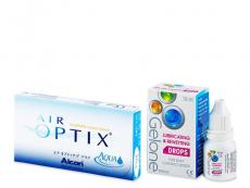 Výhodné balíčky kontaktních čoček - Air Optix Aqua (6 čoček) +oční kapky Gelone