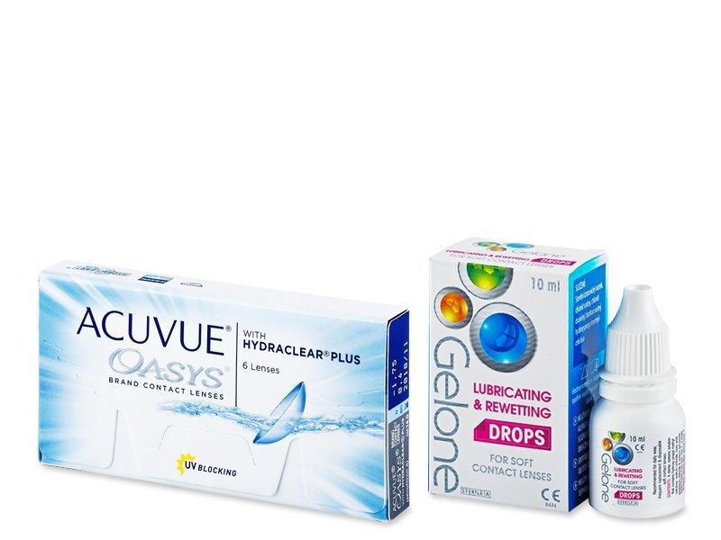 Acuvue Oasys (6 čoček) +oční kapky Gelone