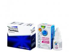 Výhodné balíčky kontaktních čoček - PureVision (6 čoček) +oční kapky Gelone