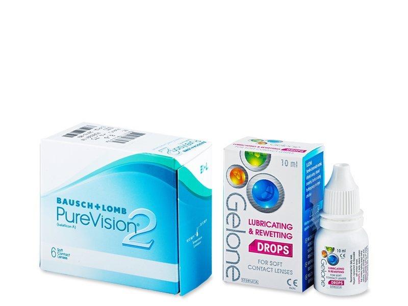 PureVision 2 (6 čoček) +oční kapky Gelone