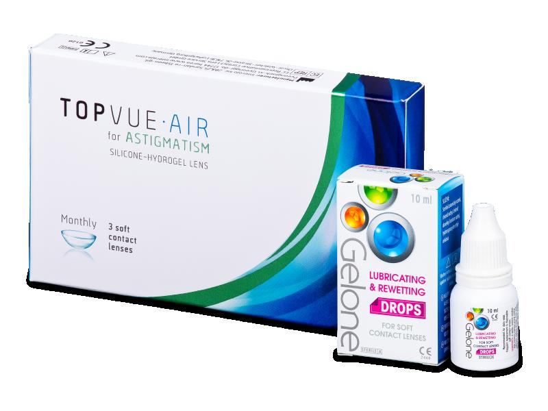 TopVue Air for Astigmatism (3 čočky) +oční kapky Gelone - Výhodný balíček