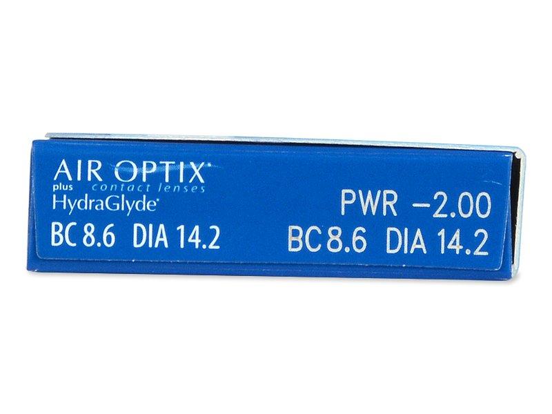 Náhled parametrů čoček - Air Optix plus HydraGlyde (6čoček)