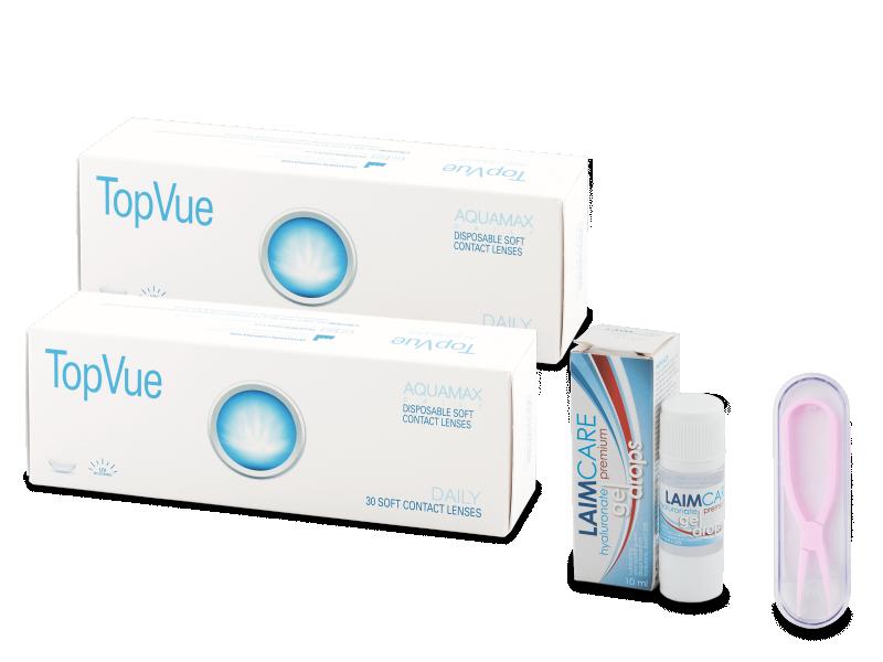 TopVue Daily (2x30) +oční kapky Laim-Care Gel Drops (10 ml) + kleštičky - Jednodenní kontaktní čočky