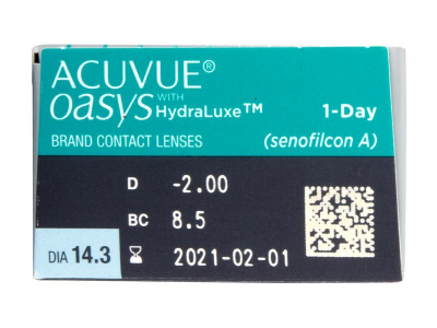 Acuvue Oasys 1-Day with Hydraluxe (30čoček) - Náhled parametrů čoček