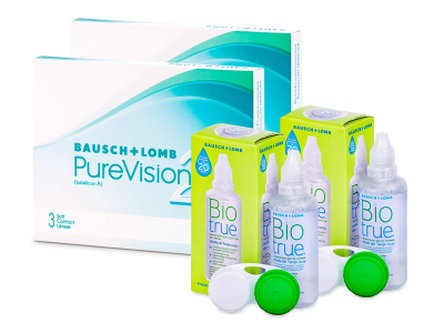 PureVision 2 (2x 3 čočky) + roztok Biotrue 2x 60 ml ZDARMA