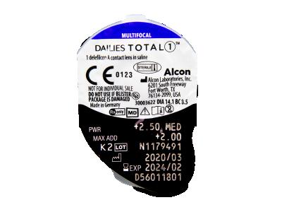 Dailies TOTAL1 Multifocal (30 čoček) - Vzhled blistru s čočkou