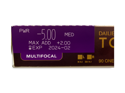 Dailies TOTAL1 Multifocal (90 čoček) - Náhled parametrů čoček