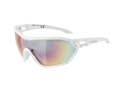 Sluneční brýle Alpina S-Way QVM+ White Matt/Quattro Varioflex Rainbow Mirror