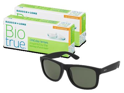 Sluneční brýle Biotrue ONEday for Astigmatism (2x 30 čoček) + sluneční brýle Alensa Sport Black Green ZDARMA