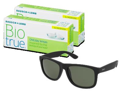 Sluneční brýle Biotrue ONEday for Presbyopia (2x 30 čoček) + sluneční brýle Alensa Sport Black Green ZDARMA