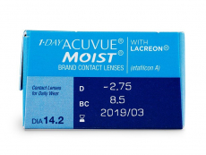 1 Day Acuvue Moist (30čoček) - Náhled parametrů čoček